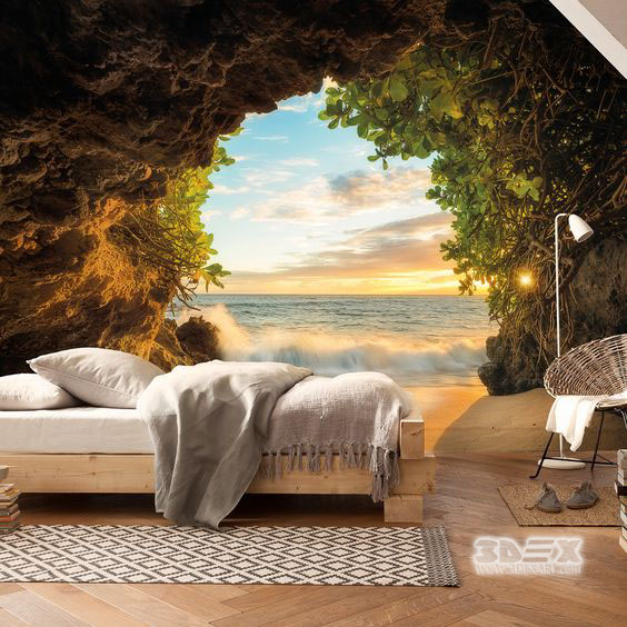 15 best 3d effect wallpaper designs visually enlarge room for Cool bedroom wallpaper designs