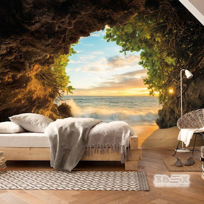 relaxing 3D nature wallpaper ideas for bedroom walls