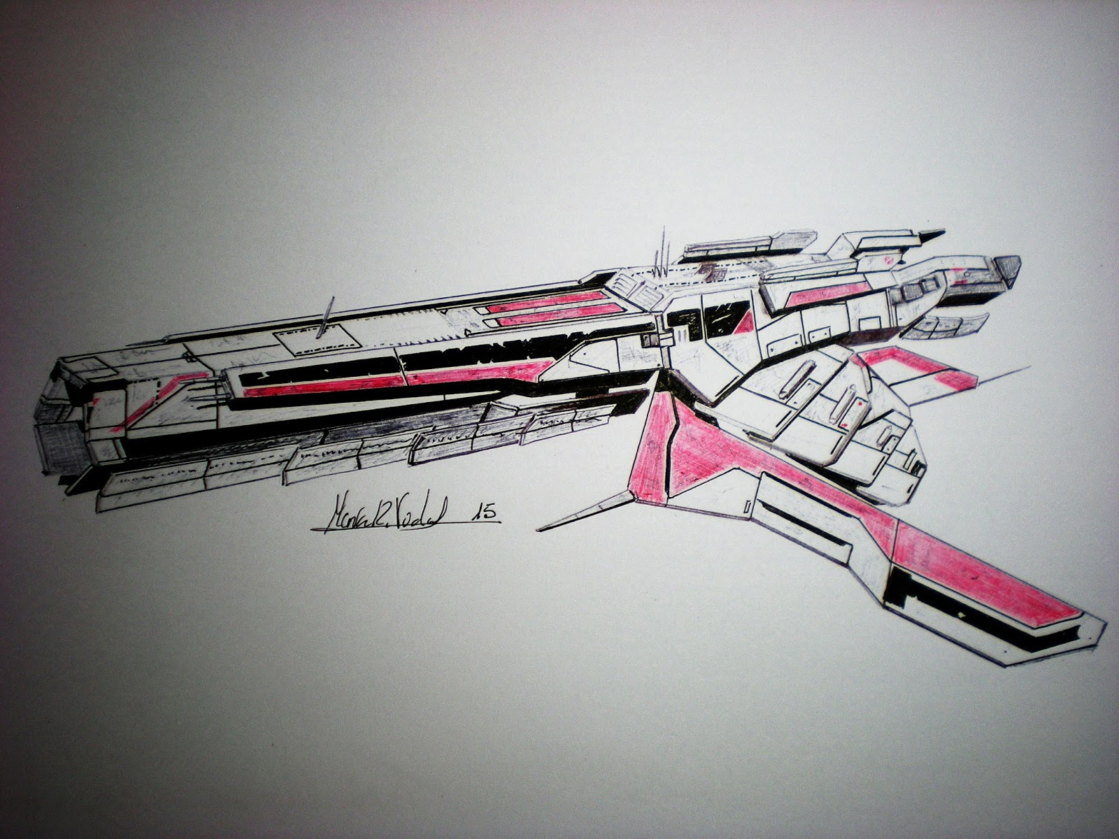 Drawings And Sketches While Studying Turian Cruiser Mass Effect