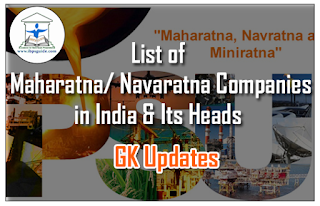 List of Maharatna/ Navaratna Companies in India and Its Heads-GK Updates for IBPS RRB/Clerk Mains 2016