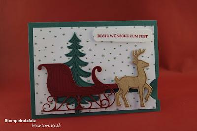 """Ziehkarte """"Weihnachtsschlitten"""" mit Stampin´ Up!"""
