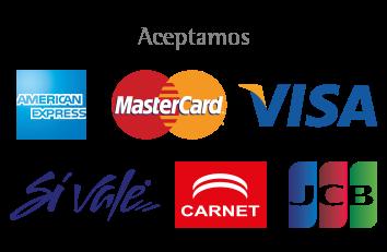 Aceptamos: American Express, MasterCard, VISA, Sí Vale, CARNET y JBC