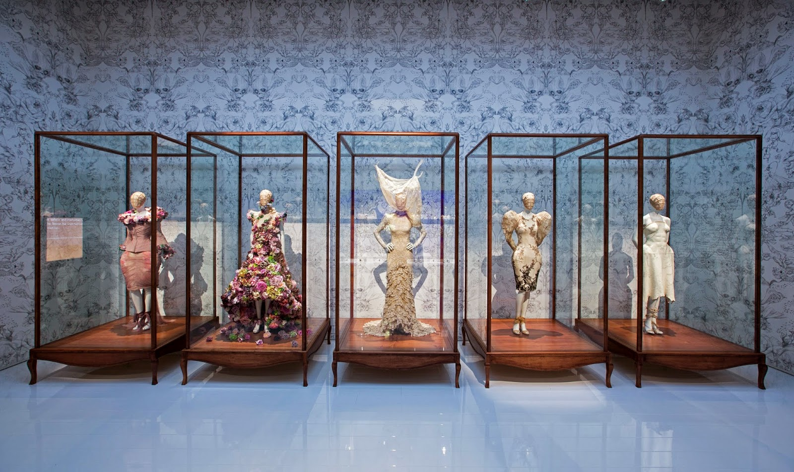 Installation view of Romantic Naturalism gallery Alexander McQueen Savage Beauty at the Victoria and Albert Museum London