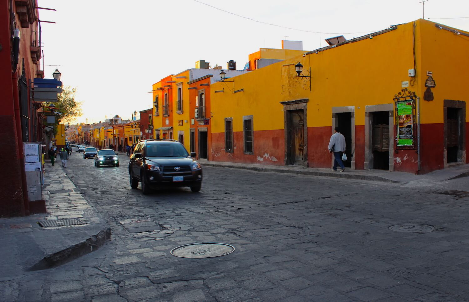 san miguel de allende street at sunset beautiful