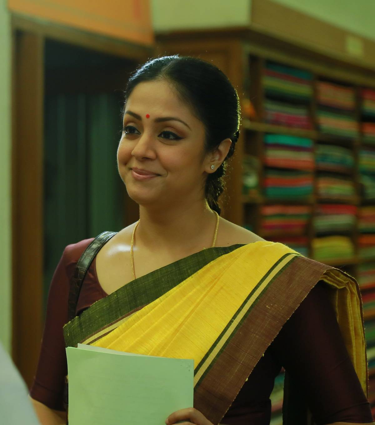 Kollywood Actress Jyothika Photos In Yellow Saree
