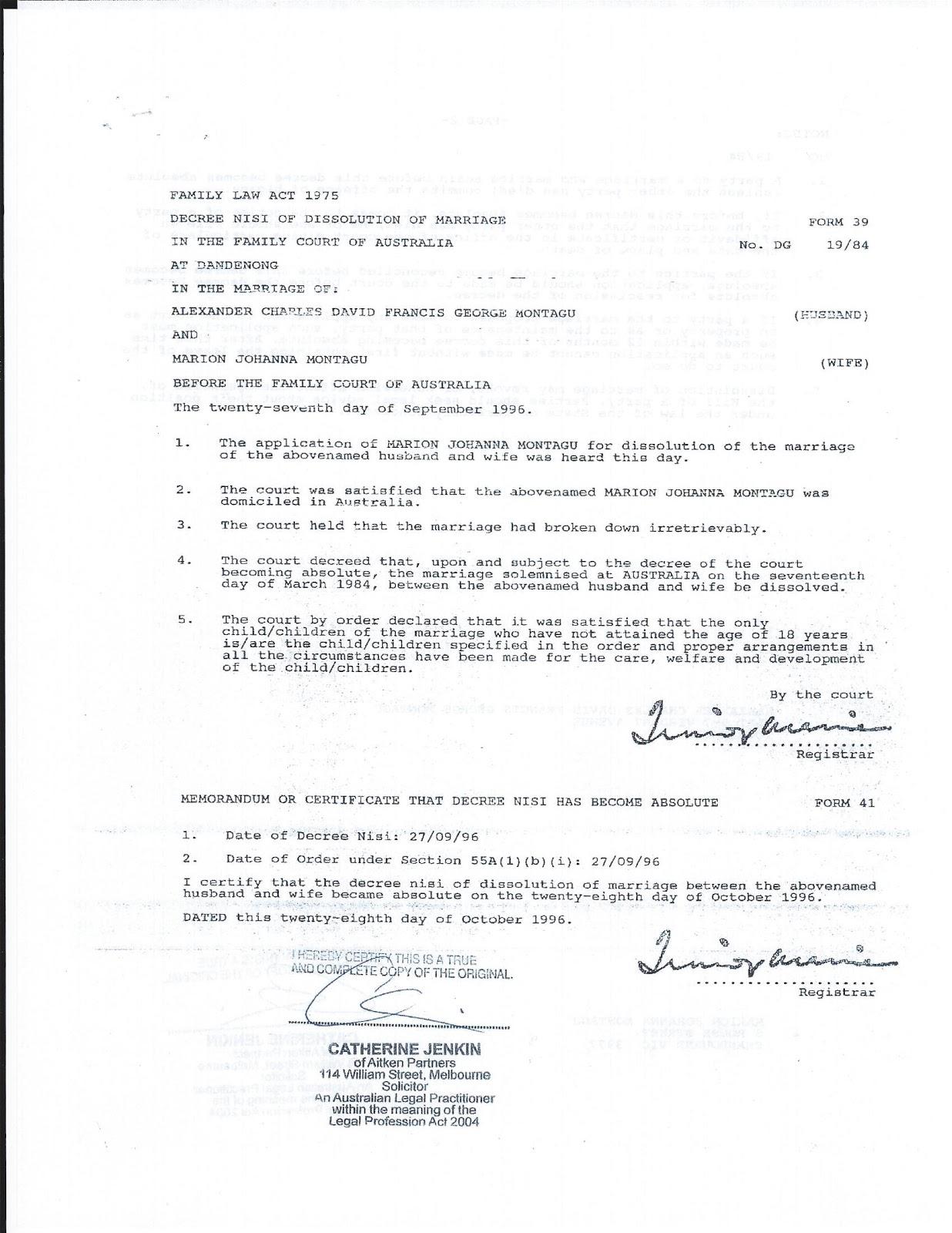 1996   Divorce Documents Alexander Montagu V. Marion Stoner Montagu  Certified Divorce Decree  Fake Divorce Papers For Free