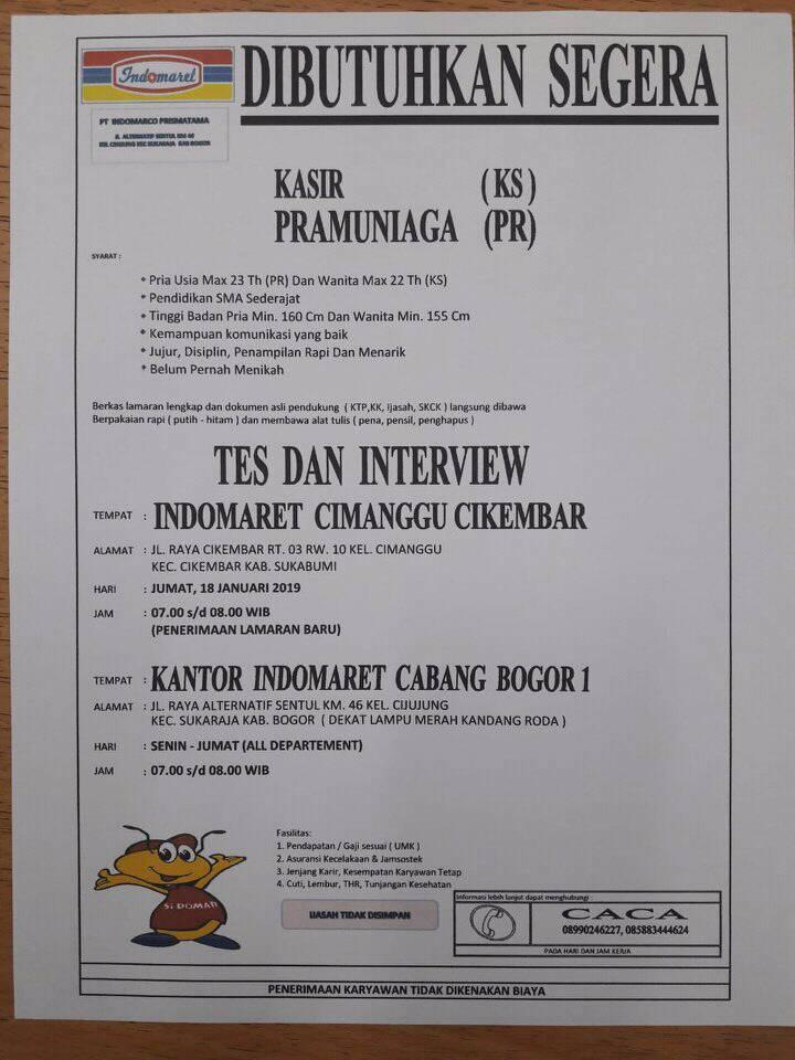 Lowongan Kerja Indomaret Sukabumi Bogor Januari 2019 Lowongan Kerja Terbaru Tahun 2020 Informasi Rekrutmen Cpns Pppk 2020
