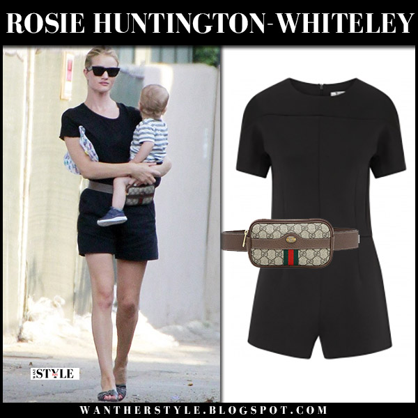 Rosie Huntington-Whiteley in black playsuit t by alexander wang model street style august 8