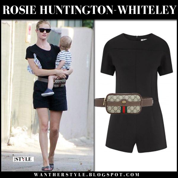 Rosie Huntington-Whiteley in black playsuit t by alexander wang model street style august 8