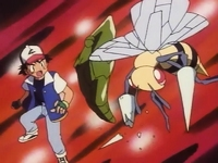 Metapod defendiendo a ash de Beedrill