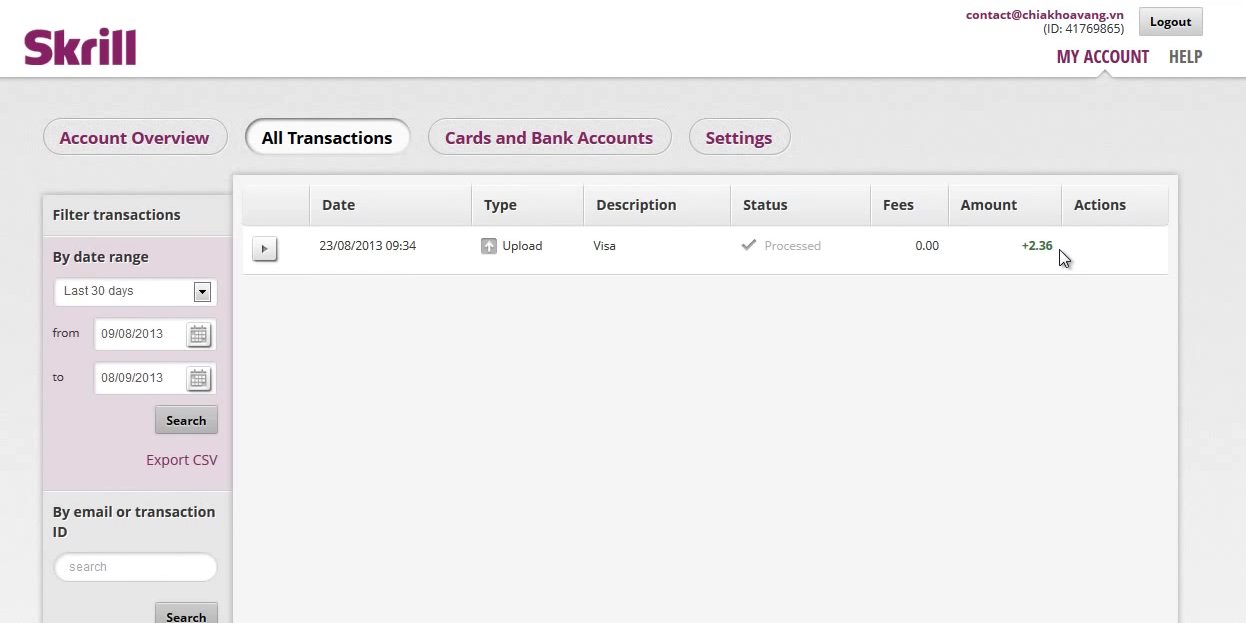 Skrill Account Transactions Screen
