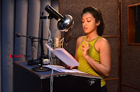 Actress Catherine Tresa Pos during Self Dubbing for Gautham Nanda Movie  0047.JPG