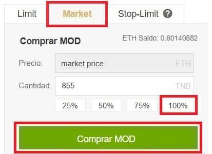 Comprar y Guardar en Wallet Criptomoneda Modum MOD