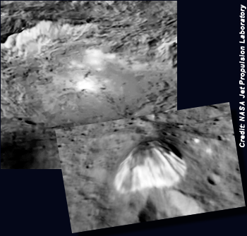 CERES: Mysterious Bright Spots and a Pyramid-Shaped Mountain