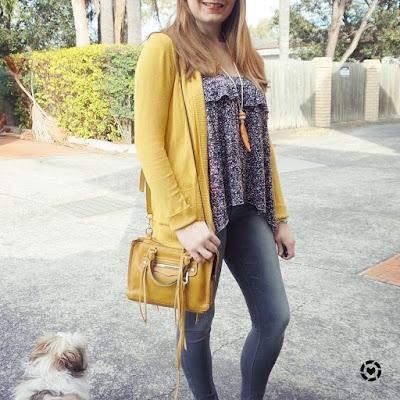awayfromblue instagram floral ruffle tank mustard cardigan grey skinny jeans