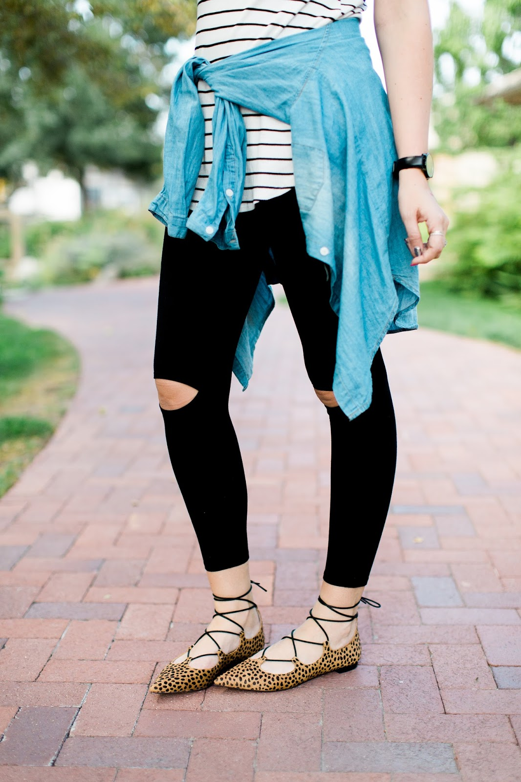 Black Leggings, Lace Up Leopard Flats, Casual Outfit