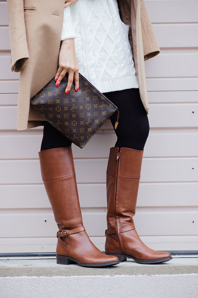GEOX Meldi Brown Riding Boots Louis Vuitton Toiletry Pouch 26 Poche Toilette 26 Blogger Outfit