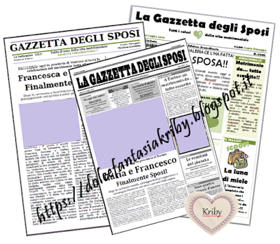 gazzetta degli sposi, giornale degli sposi, corriere degli sposi personalizzato in grafica e contenuti