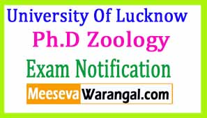 University Of Lucknow Ph.D Zoology Course Work Begin From 2016-17 Notification