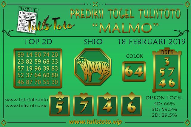Prediksi Togel MALMO TULISTOTO 18 FEBRUARI 2019