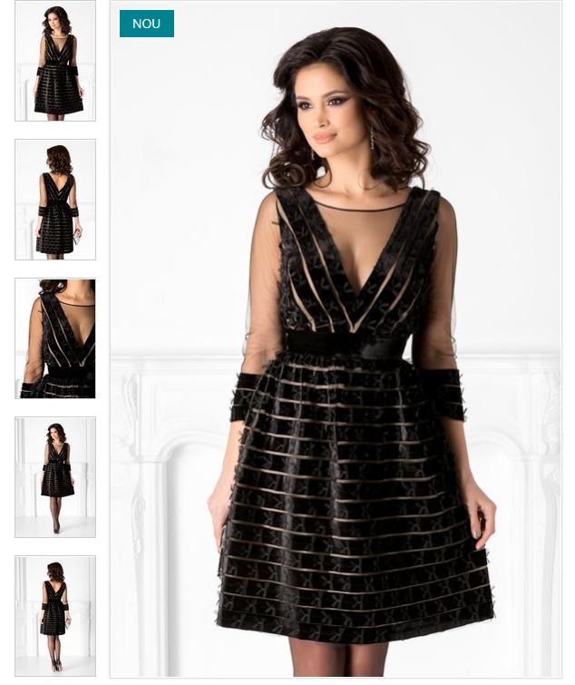 Rochie scurta de lux neagra eleganta Detalii din catifea si tull Leonard Collection