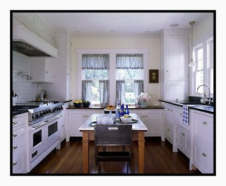 kitchen with blue and white checked curtains content in a cottage
