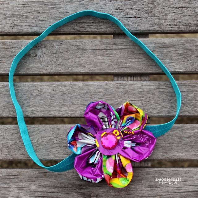 http://www.doodlecraftblog.com/2015/05/candy-wrapper-skittles-flower-headband.html