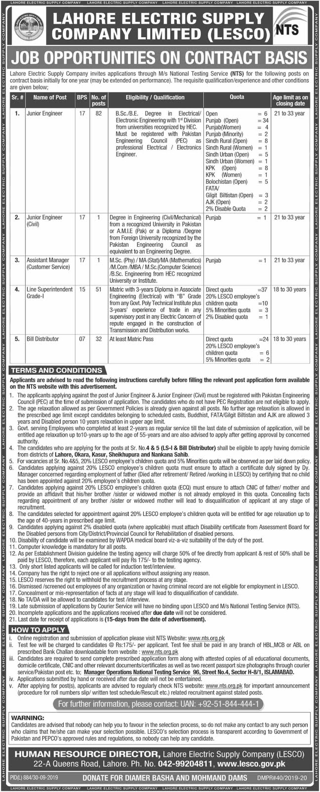 LESCO Jobs 2019 Apply through NTS