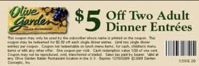 image relating to Olive Garden Printable Coupons named Olive Backyard Printable Discount codes May possibly 2018