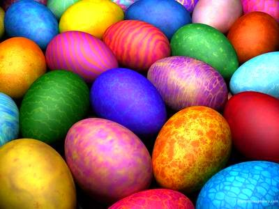Different colored easter eggs