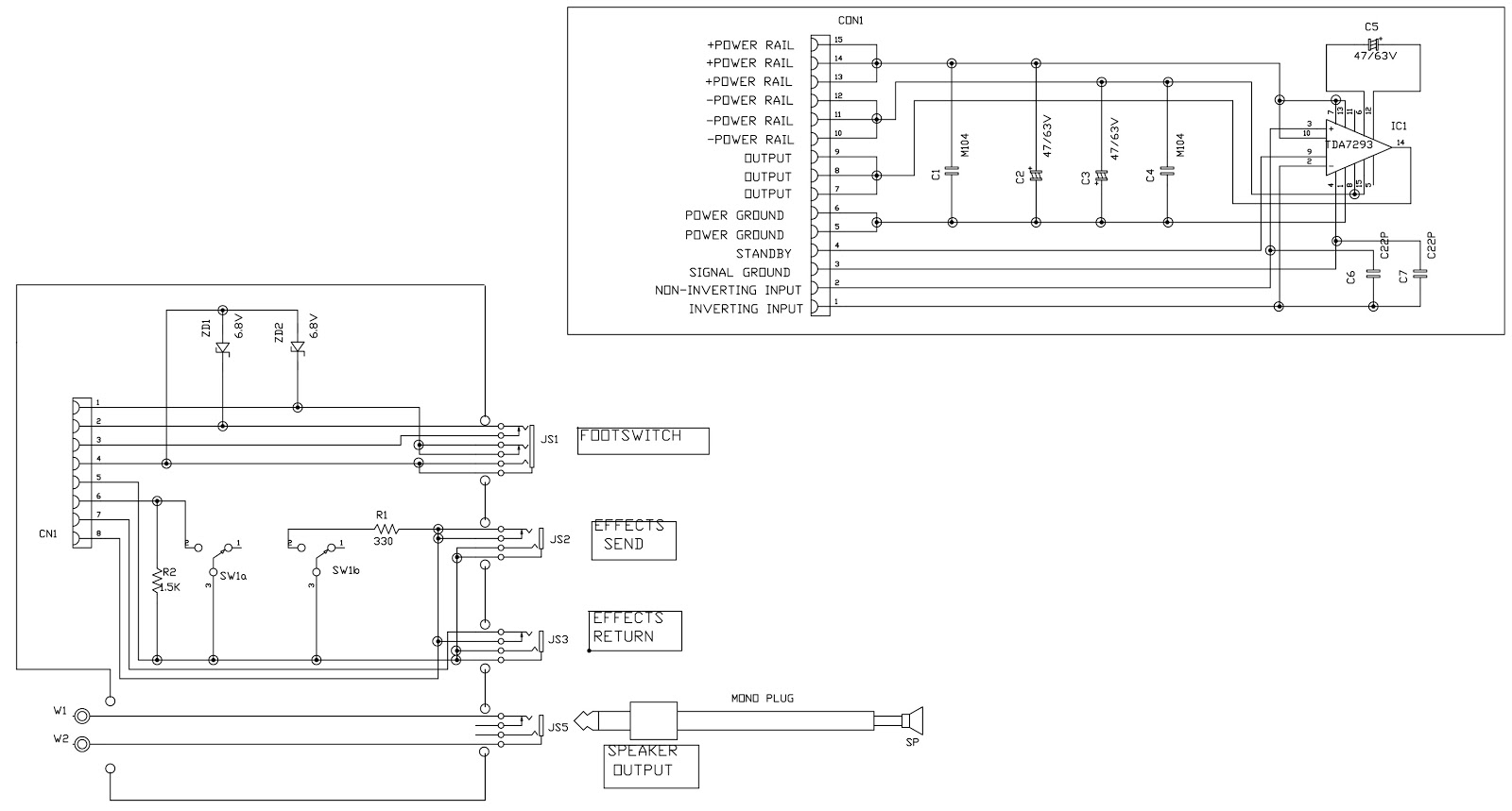 Marshall guitar amplifier MG100DFX Schematic (Circuit