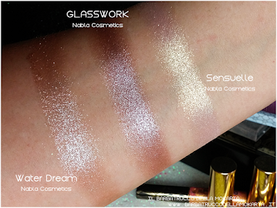 GLASSWORK  comparazioni eyeshadow ombretto  goldust collection Nabla cosmetics