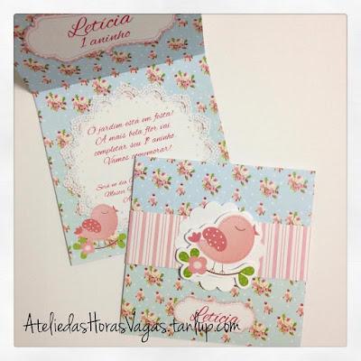 convite artesanal aniversário infantil personalizado passarinhos floral azul vintage delicado provençal menina 1 aninho jardim encantado