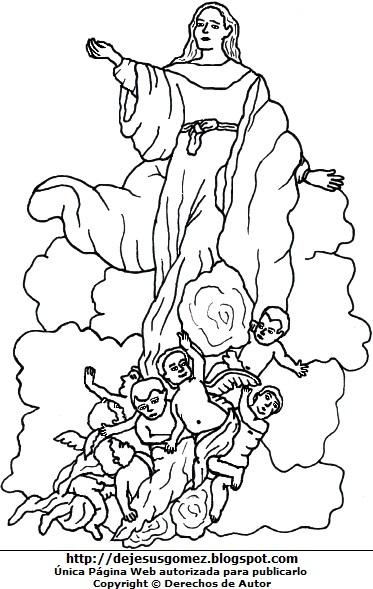 Dibujo de la Virgen de la Asunción para dibujar o colorear. Imagen de la Virgen de la Asunción de Jesus Gómez