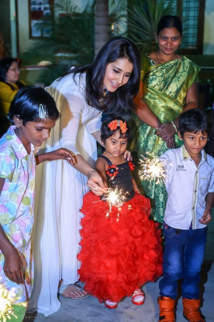 Actress Rashi Khanna Diwali Celebration With Hiv Aids kids