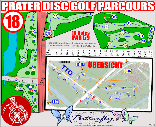 "Putterfly´s Parcoursplan ""Disc Golf Prater"" - V3.0 (18 Holes ab 10-2018)"