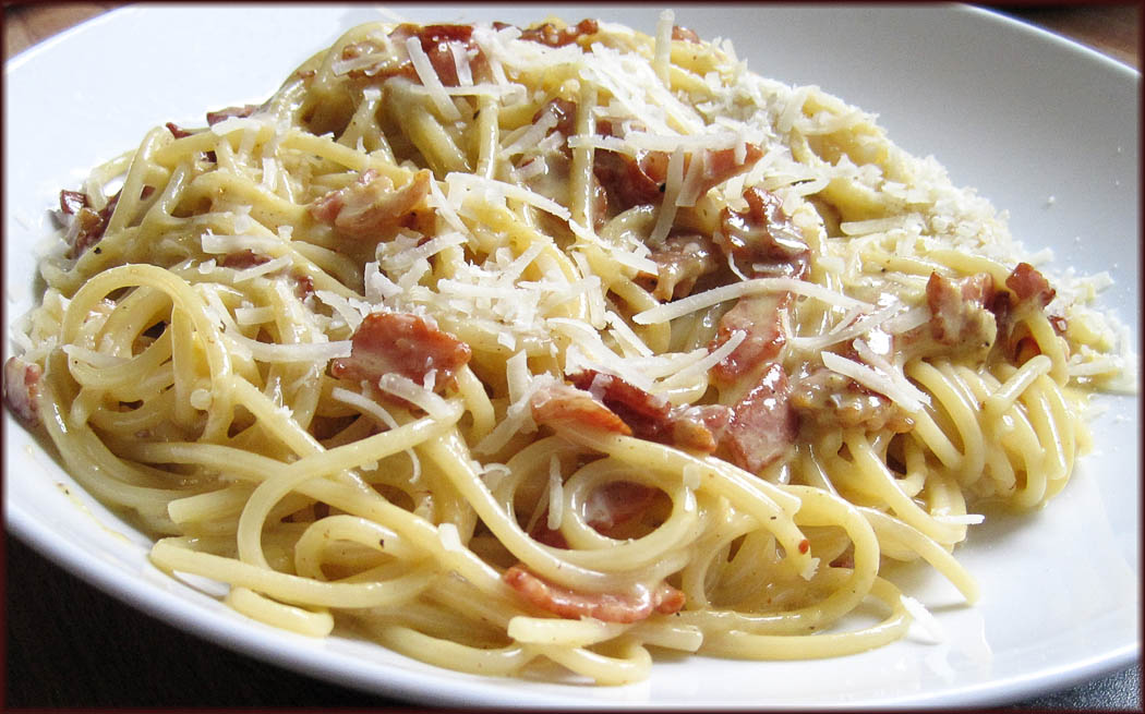 Spaghetti Carbonara made with Cream
