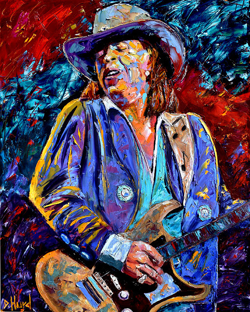 Stevie Ray Vaughan Painting Guitar Art Rock and Blues Paintings by Debra Hurd