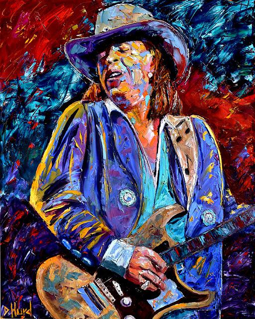 Stevie Ray Vaughan Painting Guitar Art Rock and Blues Paintings by Debra Hurd