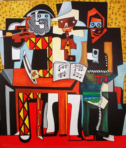 Exterior: A Painting A Day Objets D' Art: Three Musicians, Picasso