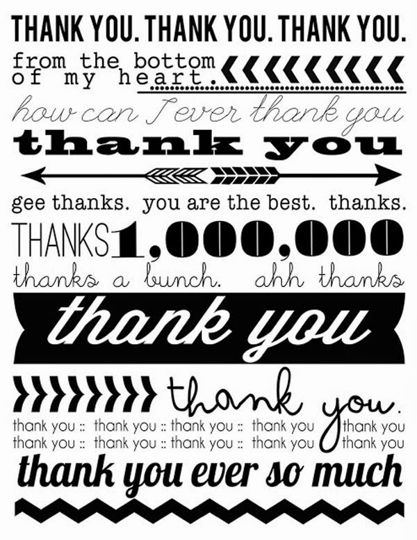 15 Aww-some Free Printables Thank You Cards on the Web - Jayce-o-Yesta - printable thank you cards black and white