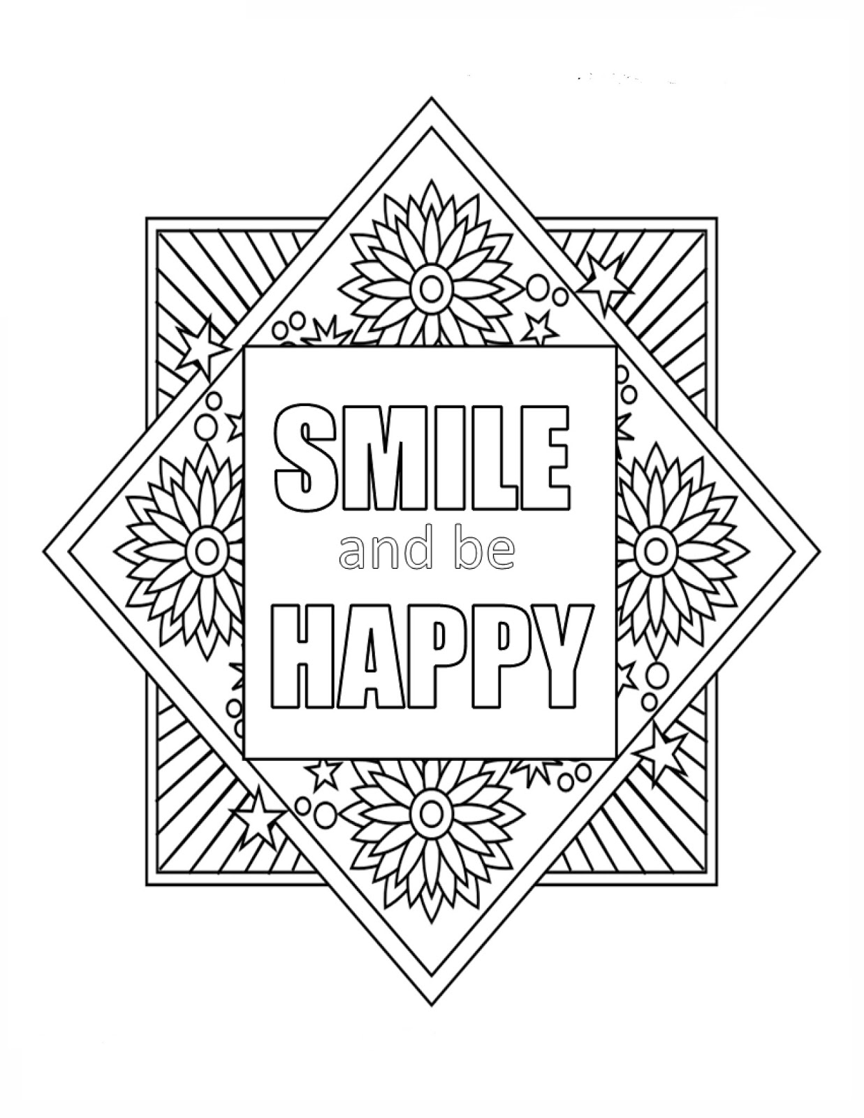 Let It Shine Free Inspirational Quote Coloring Page