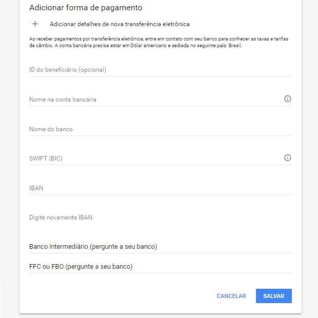 Como cadastrar a forma de pagamento no Google AdSense
