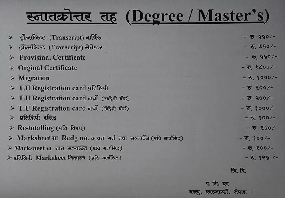 Fees required to obtain different documents for Digree/ Masters Level (स्नातकोत्तर तह)