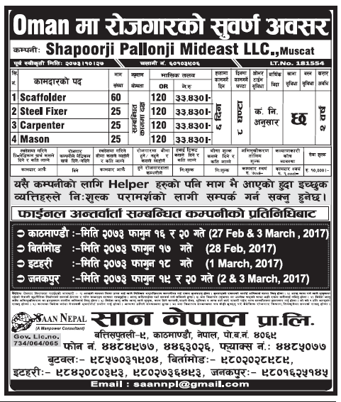 Jobs in Oman for Nepali, Salary Rs 33,430