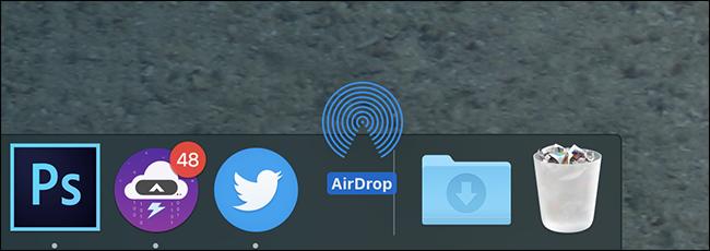 """app """"AirDrop"""" sul Dock"""