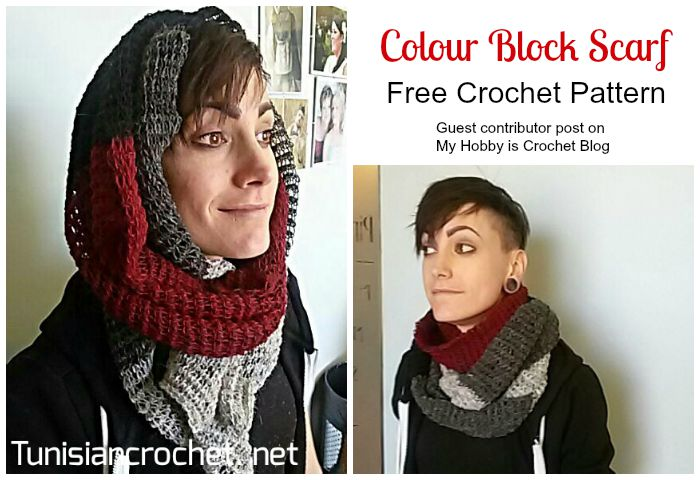 Colour Block Scarf  -  Free Tunisian Crochet Pattern