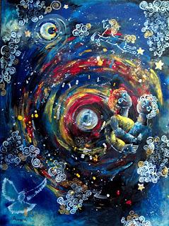 https://www.latelierdannapia.com/ La costellazione degli innammorati cavallo colomba luna quadro acrilico su tela, onirico poetico surrealista tableau surrealiste onirique la constellation des amoureux lune cheval colombe