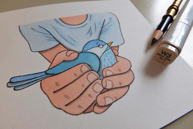 ilustrace pták, sýkorka
