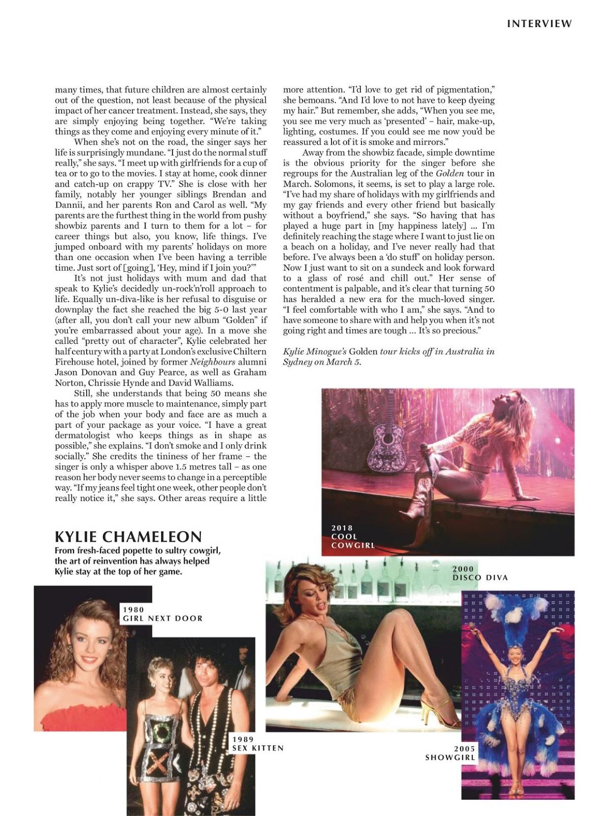 Kylie Minogue in Marie Claire Magazine, Australia March 2019